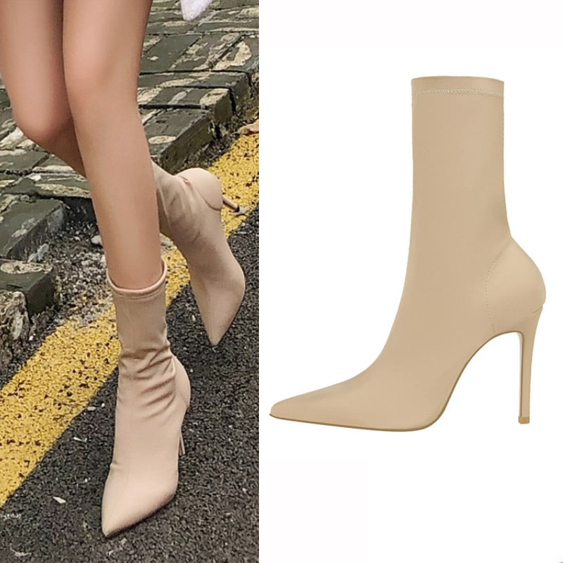 EOEODOIT High Stiletto Heels Elastic Boots Lycra Boot 2019 Spring Summer Autumn Women Sexy Pointy Toe Stocking Sock Shoes Pumps