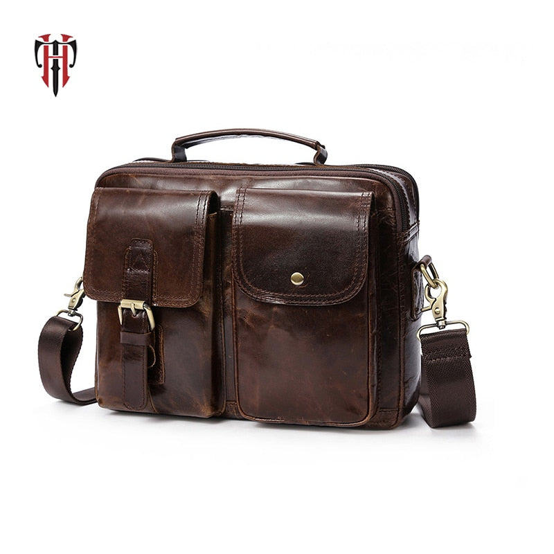 TIANHOO genuine leather briefcase bag for man bags cow leather water proof men shoulder bag multi compartment handbags for work