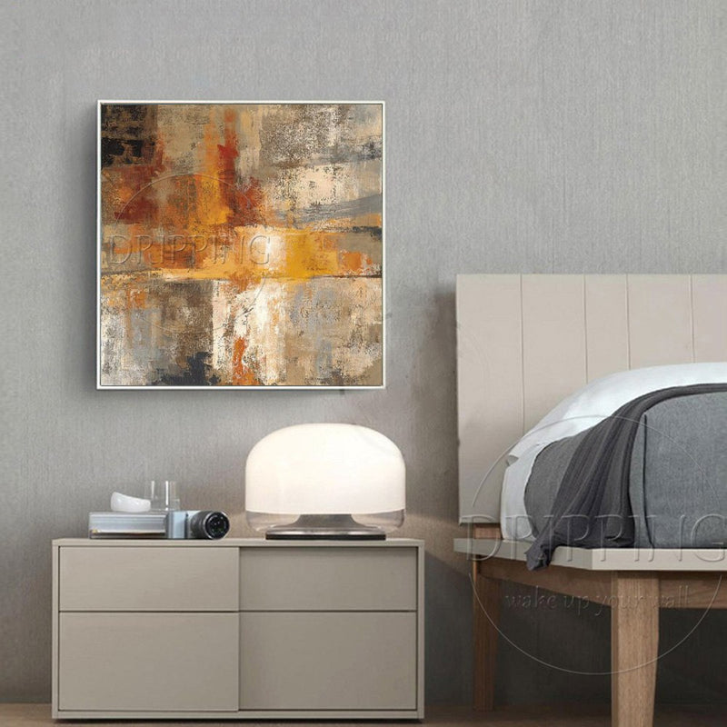 Artist Hand-painted High Quality Modern Abstract Oil Painting on Canvas Abstract Yellow Oil Painting for Living Room Decoration