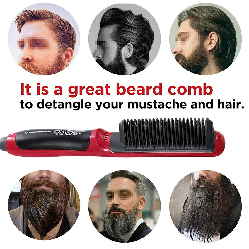 Electric Ionic Heated Beard Straightener Comb Hair Brush Beard Buddy Straightening Comb Shaping All Kinds of Hair with Fast Heat
