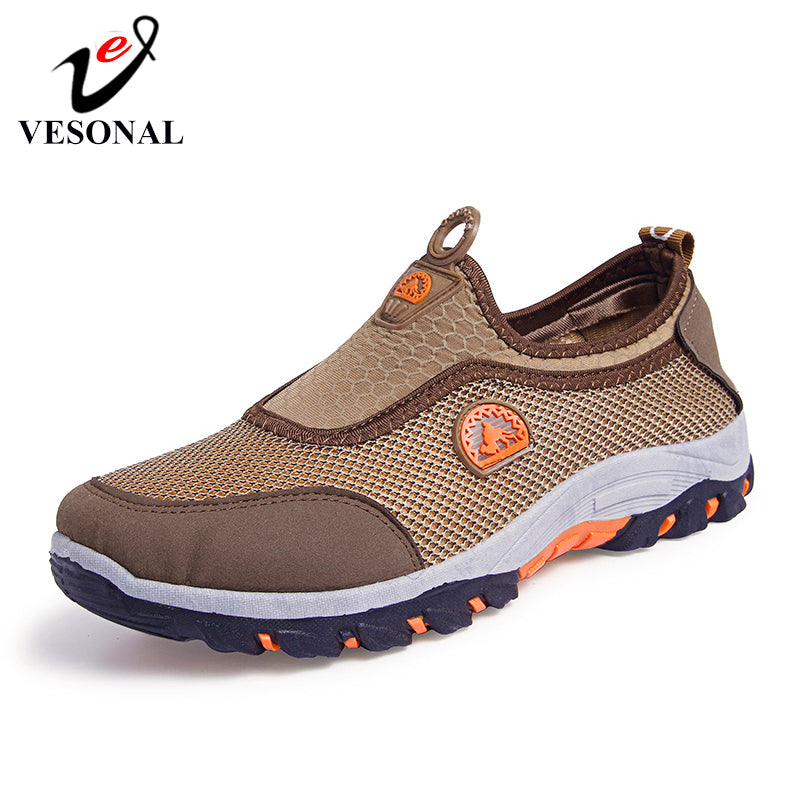 VESONAL 2019 Summer Outdoor Casual Trekking Hiking Shoes For Men Sneakers Mesh Shoes Rubber Wear Resisting Non Slip New Arrival