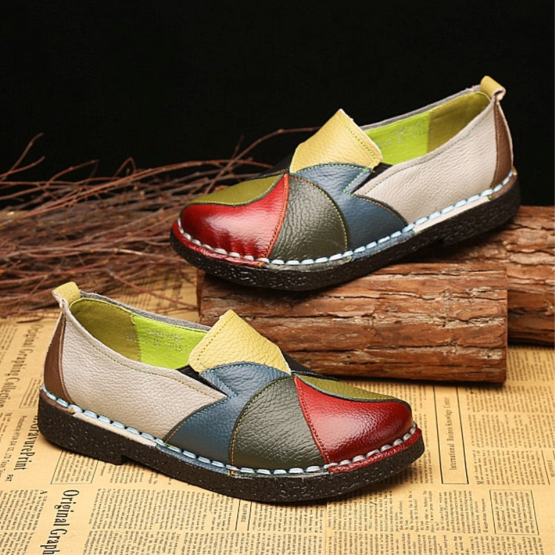 DONGNANFENG Women Ladies Female Shoes Flats Mother Shoes Cow Genuine Leather Loafers Colorful Non Slip On Designer 35-42 OL-2098