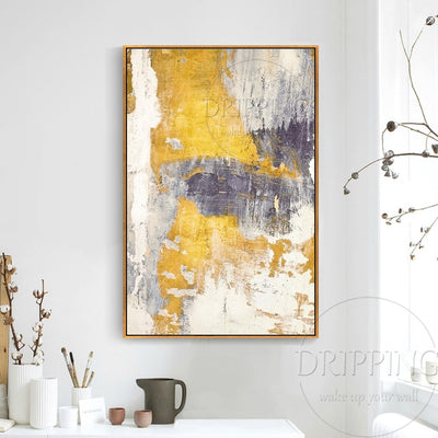 Fashion Wall Art Painting High Quality Abstract White and Golden Oil Painting Hand-painted Abstract White and Grey Oil Painting