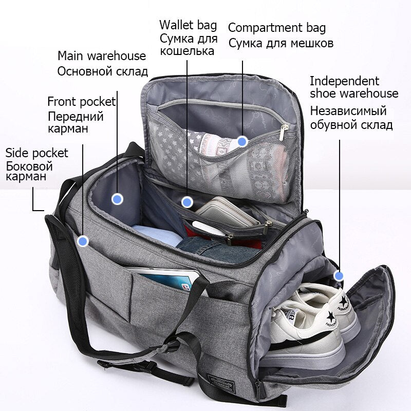 New Nylon Travel Bag Large Capacity Men Hand Luggage Travel Duffle Bags Nylon Weekend Bags Women Multifunctional Travel Bags