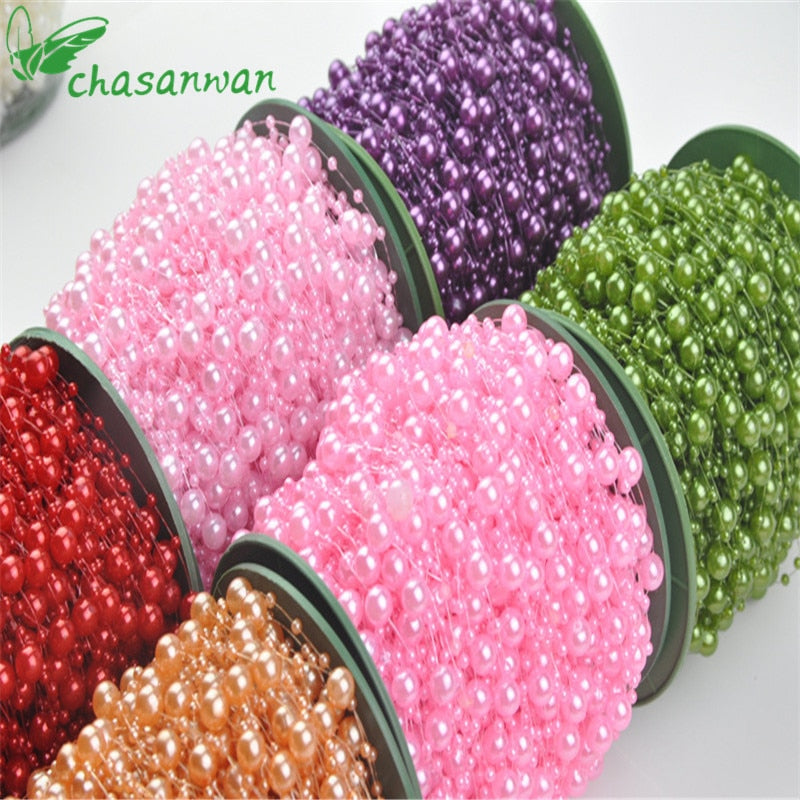 NEW 5 Meters Fishing Line Artificial Pearls Beads Chain Garland Flowers Bridal Tiara Wedding Decoration Event Party Decoration.Q