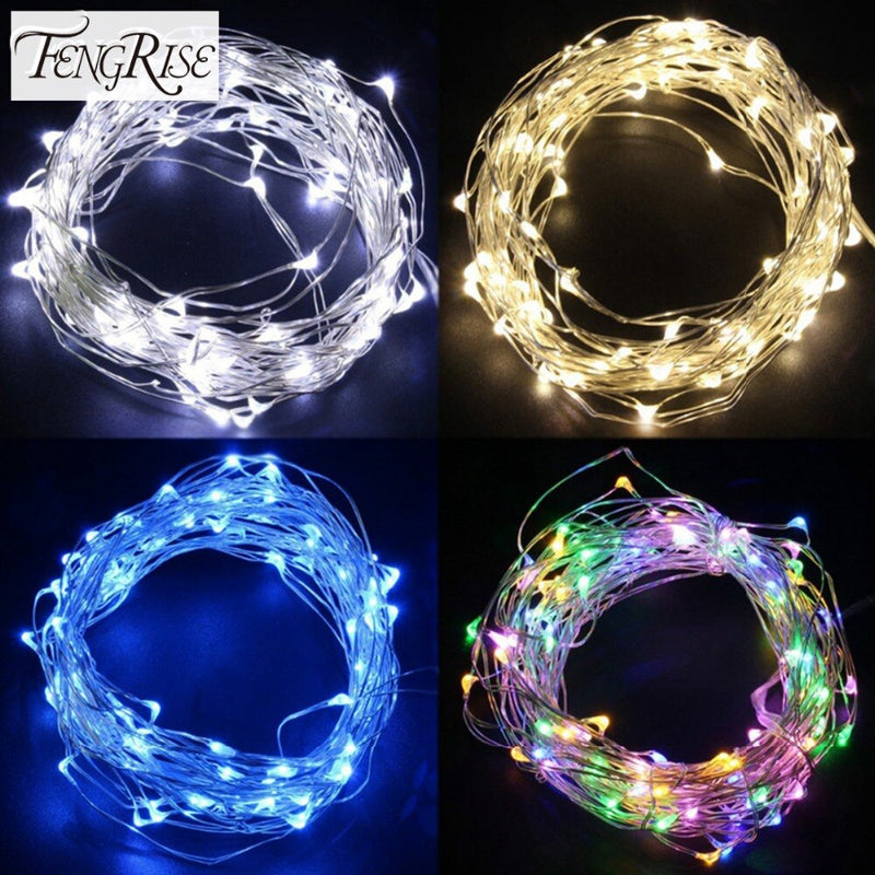 FENGRISE 2 5M Led Copper Wire String Lights Romantic Wedding Fairy Light Decoration AA Battery Operated New Year Christmas Decor