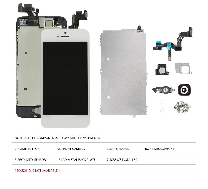 Full Set LCD Display for iPhone 5 5C 5S 5G LCD Screen Touch Digitizer Full Assembly LCD Replacement Pantalla+Home Button+Camera