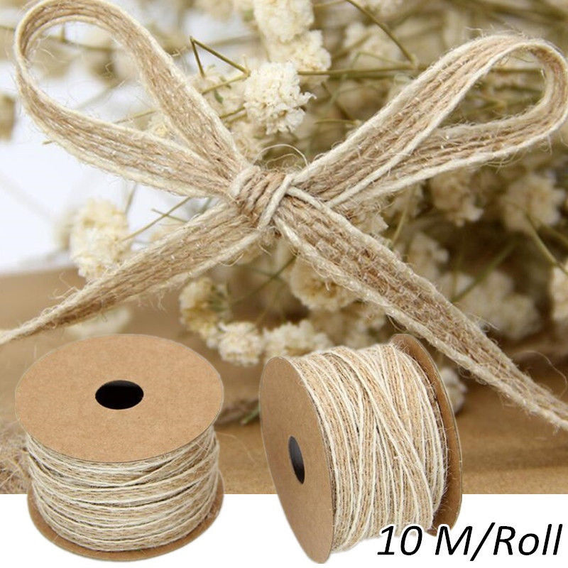 10M/Roll Width 0.5cm Jute Burlap Rolls Hessian Ribbon With Lace Vintage Rustic Wedding Decoration Ornament Party Wedding Decor