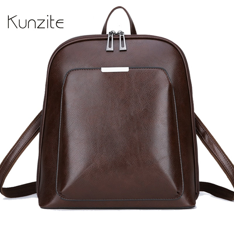 Vintage Backpack Female Brand Leather Women's backpack Large Capacity School Bag for Girl Leisure Shoulder Bag for Women mochila