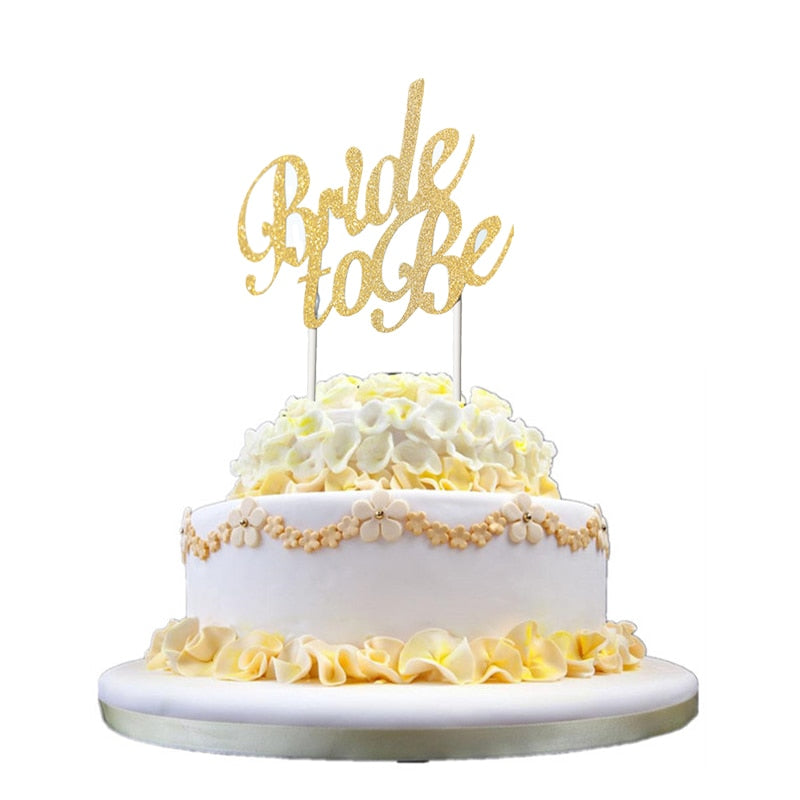 1pcs Gold Silver Bride To Be Cake Topper Bachelorette Hen Girls Night Party Bridal Shower Wedding Engagement Cake Decoration