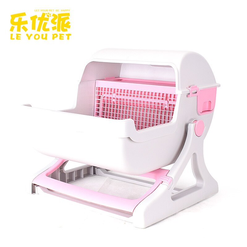 Super Easy Cleaning Design Modern Luxury Half-Sealed Cat Toilet Elevated Cats Litter Pan Large Space Plastic Cat Litter Trays