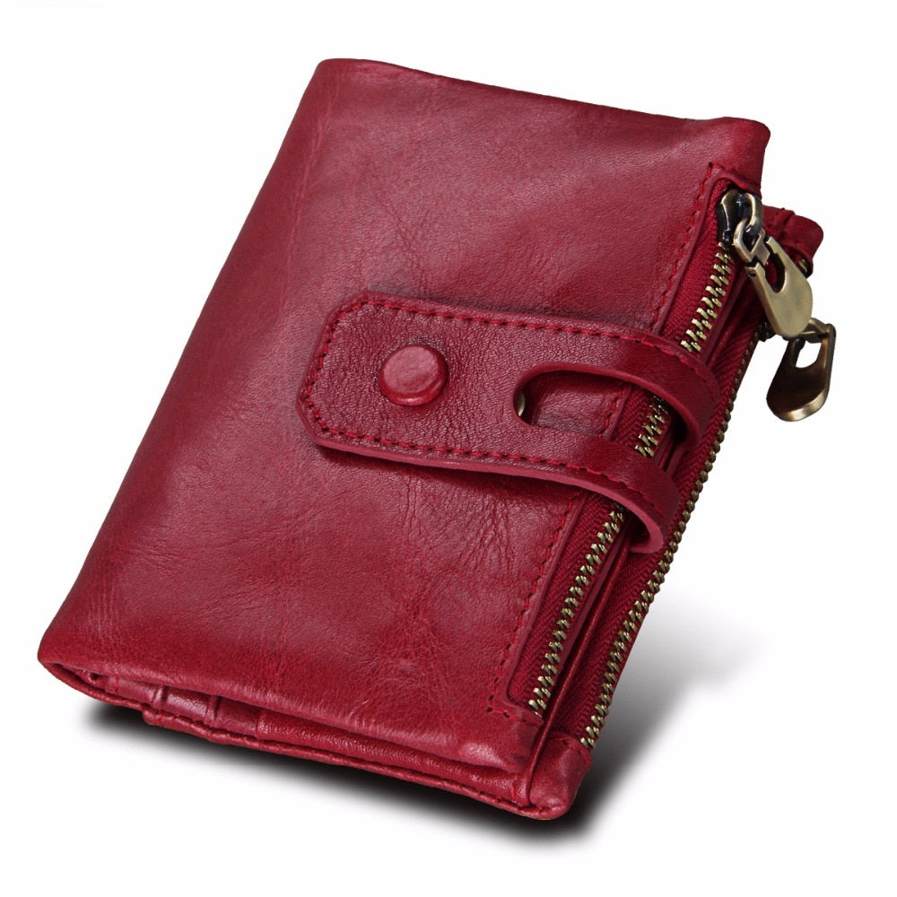 2018 Fashion Wallet Women Genuine Leather Wallets Female Hasp Double Zipper Design Coin Purse ID Card Holder Unisex Slim Wallet