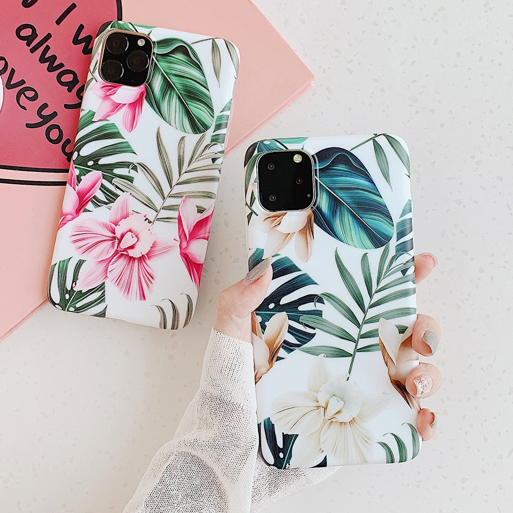 Art Flowers Leaf Phone Case For iPhone 11 & more..