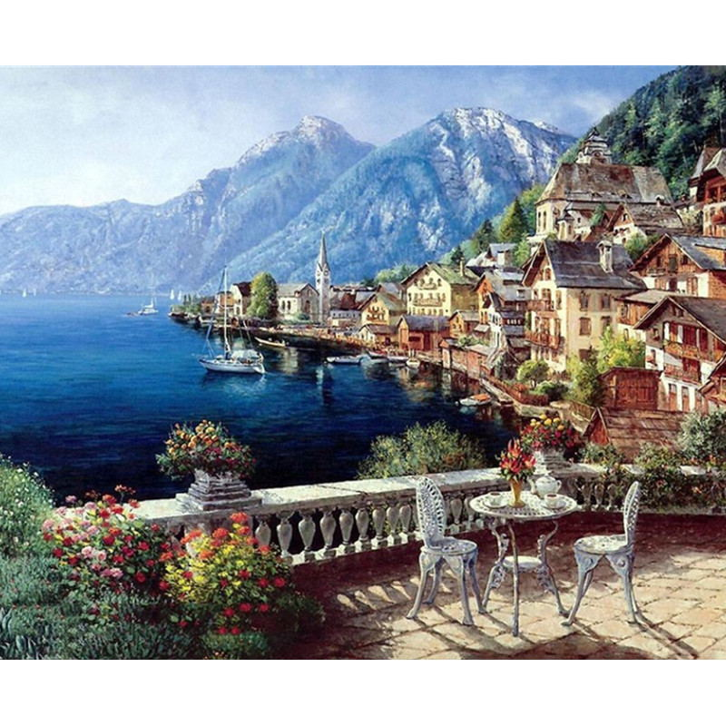Landscape Framed Pictures DIY Painting By Numbers Wall Art
