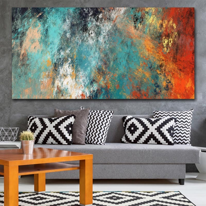 Abstract Colorful Clouds Canvas Painting