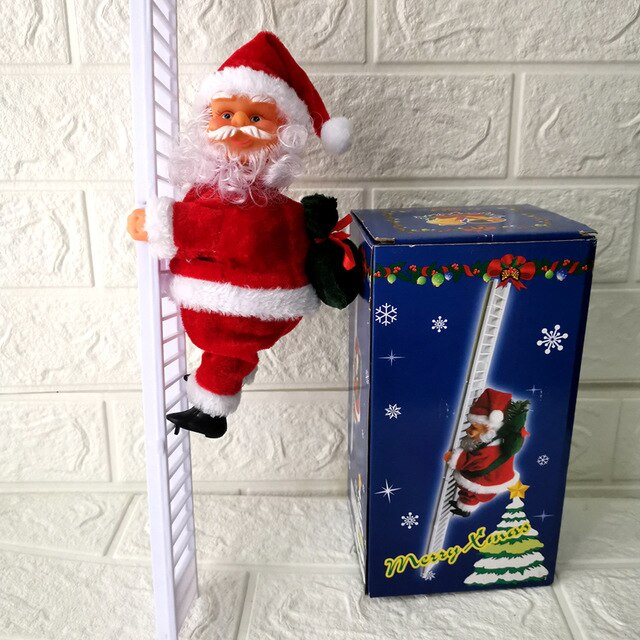 Lovely Music Christmas Santa Claus Electric Climb Ladder Hanging Decoration Christmas Tree Ornaments Funny New Year Kids Gifts