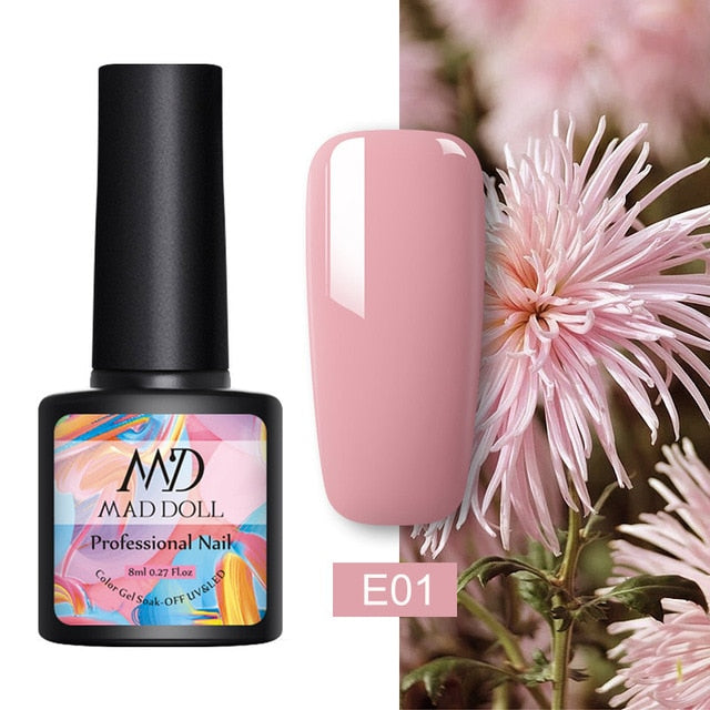 MAD DOLL 8ml UV Gel Nail Polish Rose Gold Glitter