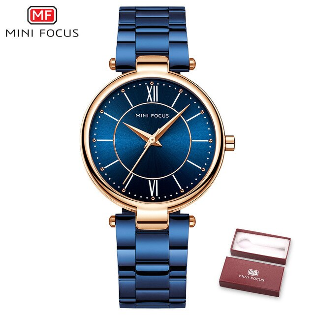 MINIFOCUS Women Watches Waterproof Blue Stainless Steel Brand Luxury Fashion Ladies Quartz Watch Relogio Feminino Montre Femme