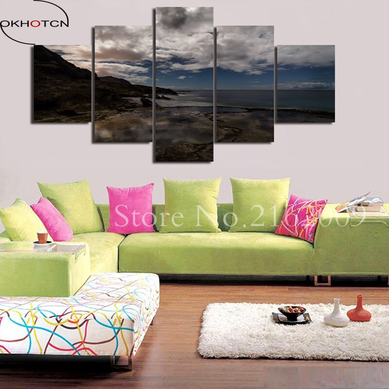 Sea Waves Beach Sunset Landscape Wall Art Room