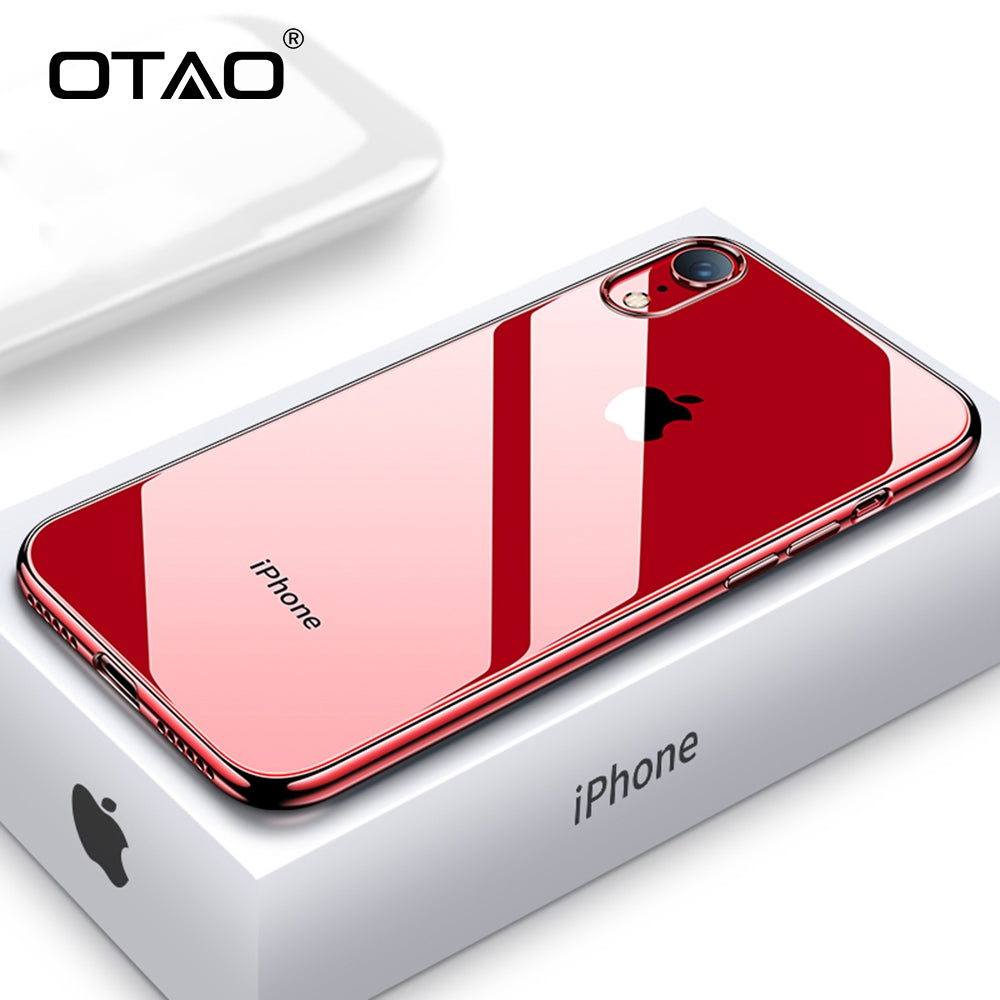OTAO Ultra Thin Transparent Phone Case For iPhone XS MAX XR X 8 7 6 6s Plus Plating Soft TPU Silicone Full Cover Shockproof Caqa