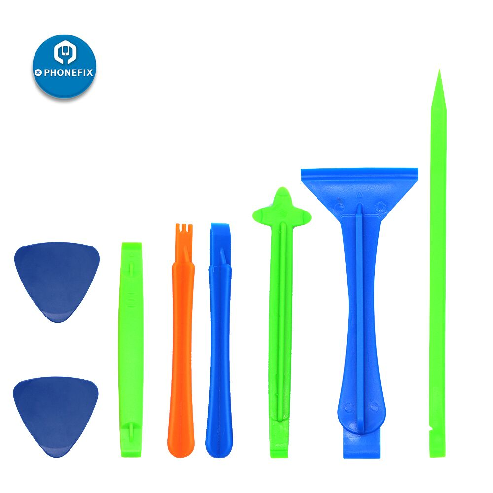 PHONEFIX 8 in 1 Plastic DIY Phone Pry Opening Set Screen Disassembly Teardown Tool Kit Spudger Crowbar Triangle Pry Picks Tool