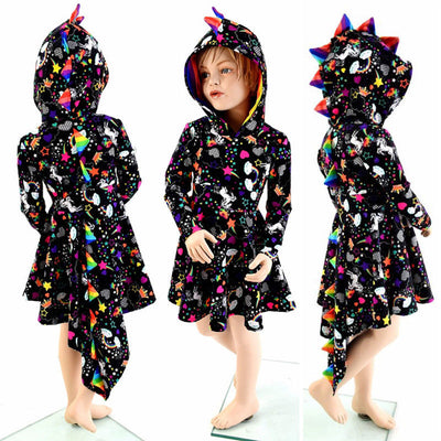 PUDCOCO Toddler Kids Baby Girl Dinosaur Cosplay Party hooded Dress