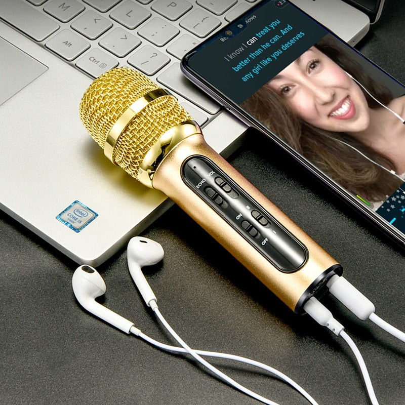 Professional Karaoke Condenser Microphone Live Recording For Mobile Phone