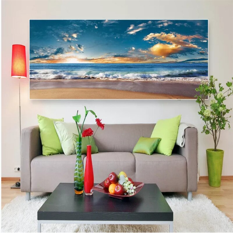 Seascape Beach Sunset Sunrise Frameless Landscape Decoration