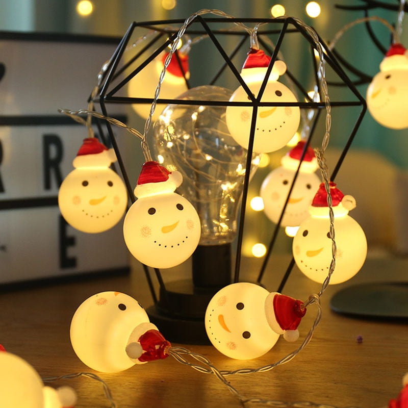 Snowman Chirstmas Led Fairy String Lights Cute Santa Claus Style Lights for Christmas Tree Indoor Decoration Light for Party