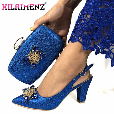 Summer New Coming Royal Blue Nigerian Shoes and Bags To Match Shoes with Bag Set  Matching Italian Shoe and Bag Set