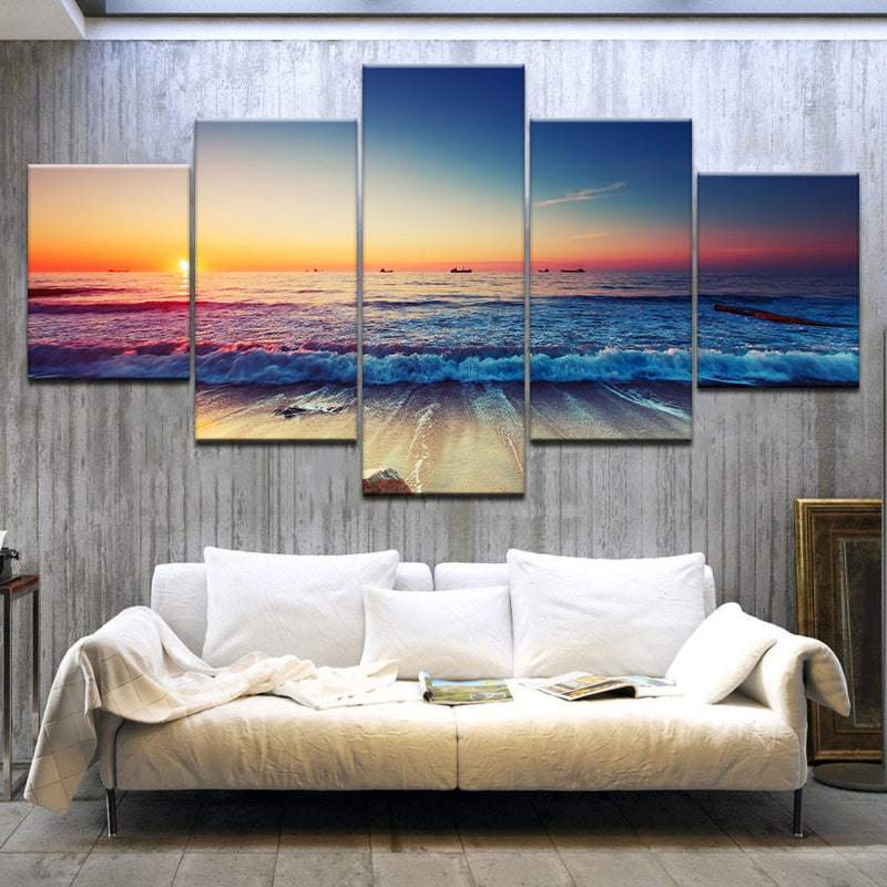The sunset sea beach seascape 5 Panel HD Print