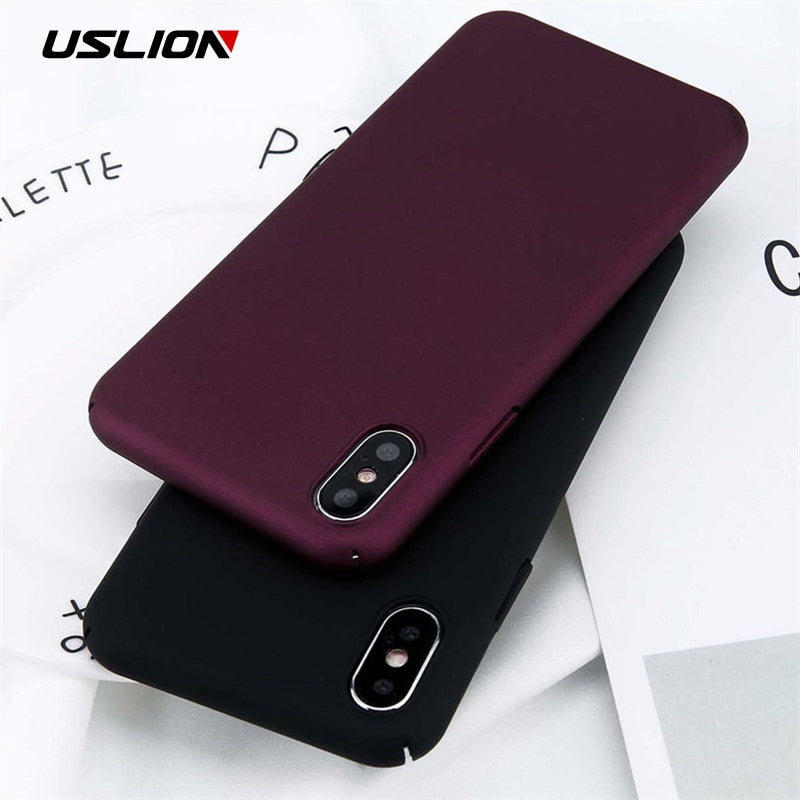 USLION For iPhone 11 Pro Max X Xs Max XR 8 7 Plain Phone Case Frosted Hard PC Back Cover For iPhone 8 7 6 6S Plus 5 5S SE Cases