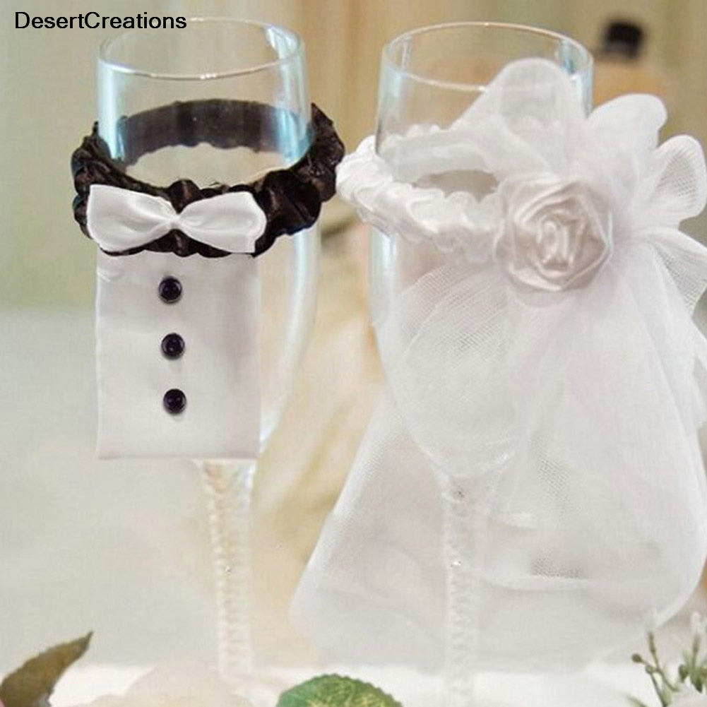 2Pcs/Set!!!!!  2018 Bridal Veil Bow Tie Bride & Groom Tux Bridal Veil Wedding Party Toasting Wine Glasses Decor Party Gifts