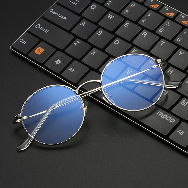 VCKA Fashion Blue Light Glasses Retro Metal Frame Anti Blue Ray Computer Glasses Vintage Designer Round Glasses Frame Eyewear