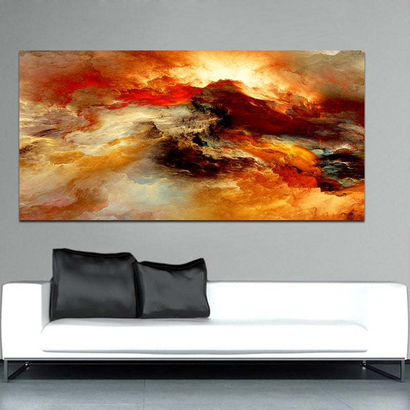 Colorful Oil Painting Brown Canvas for Living Room Wall Picture no frame