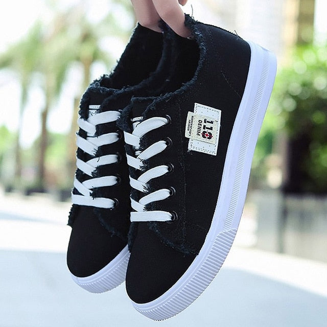 Women Canvas shoes Sneakers 2019 Hot Solid Lace-up Superstar Shoes for Girls Non-slip Size 35-39 Zapatillas mujer