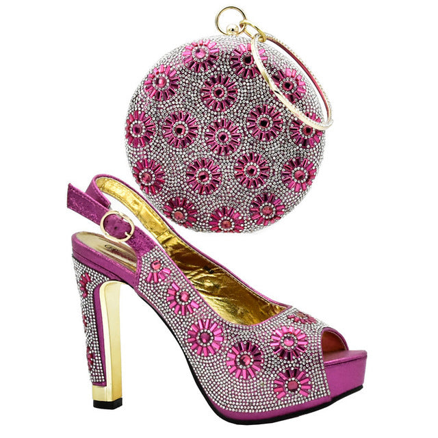 Women Shoes and Bag Set Decorated with Rhinestone Italian Shoes with  Bags High Quality African Women Wedding Shoes and Bag Set