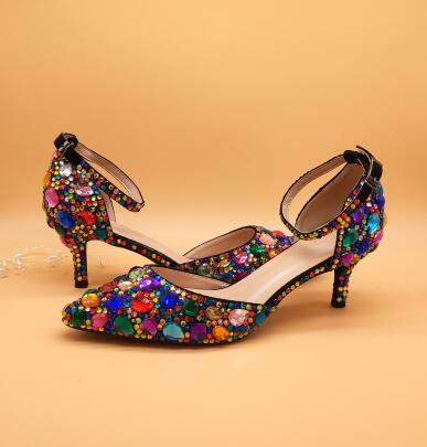 Multicolored Crystal High heels platform shoes