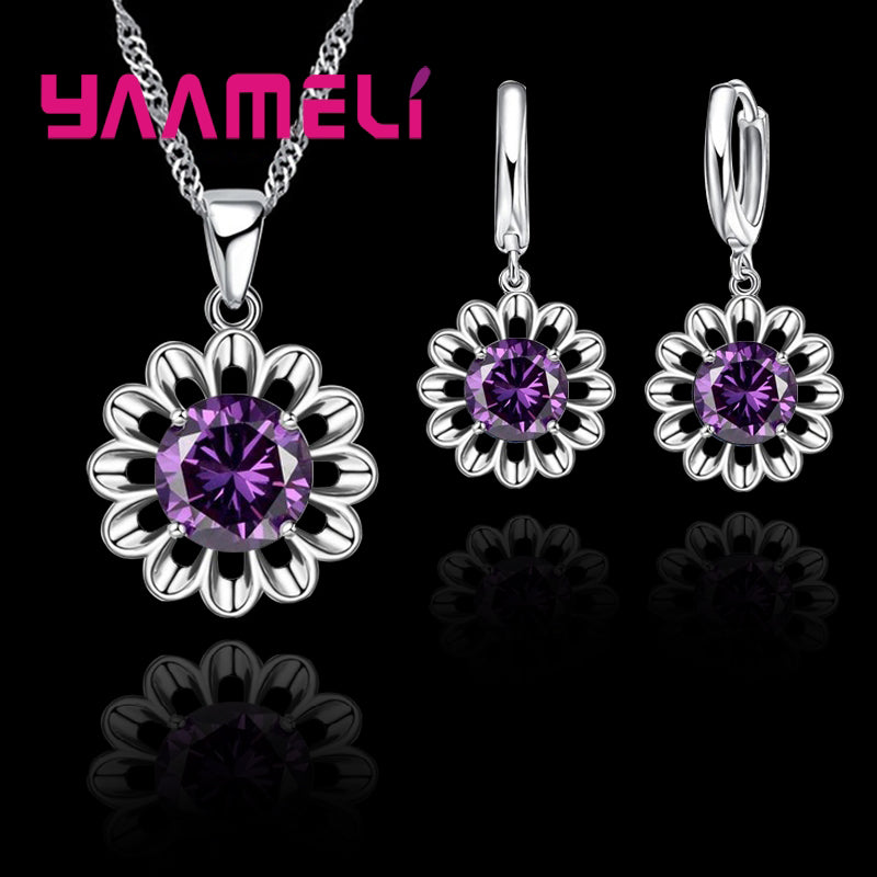 YAAMELI 925 Sterling Silver Wedding Jewelry Set For Women Top