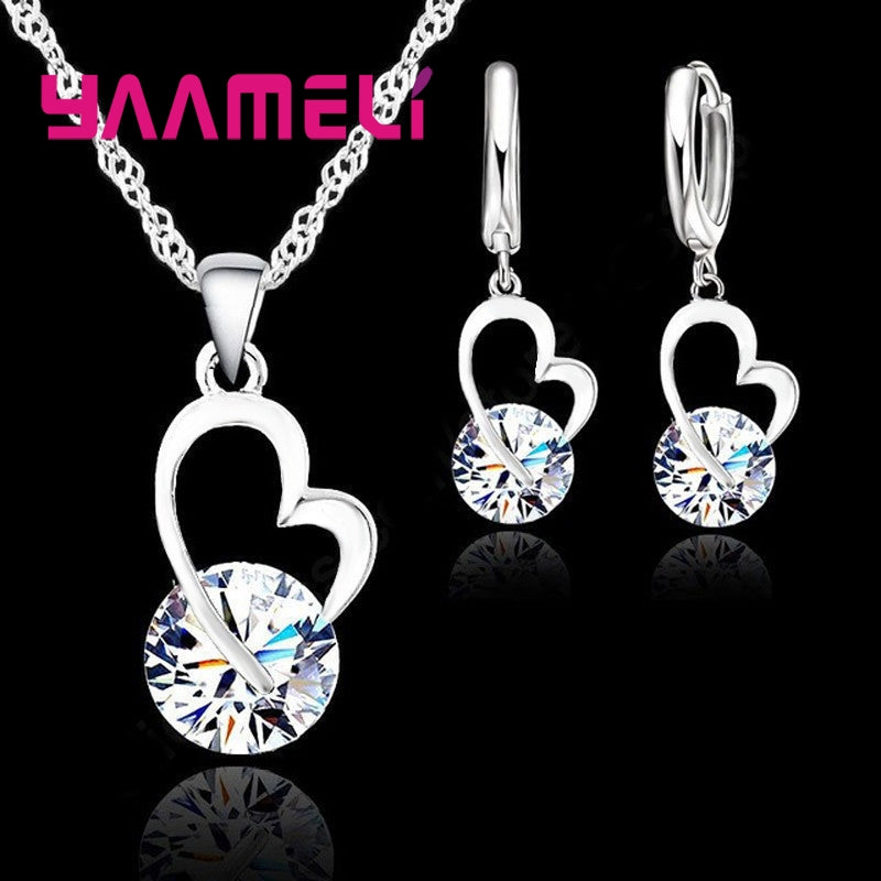 Silver Wedding Earrings Pendant Necklace Party Anniversary Charm Gift