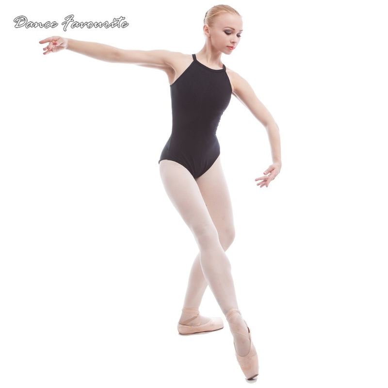 Black cotton spandex gymnastics leotard for ballerinas