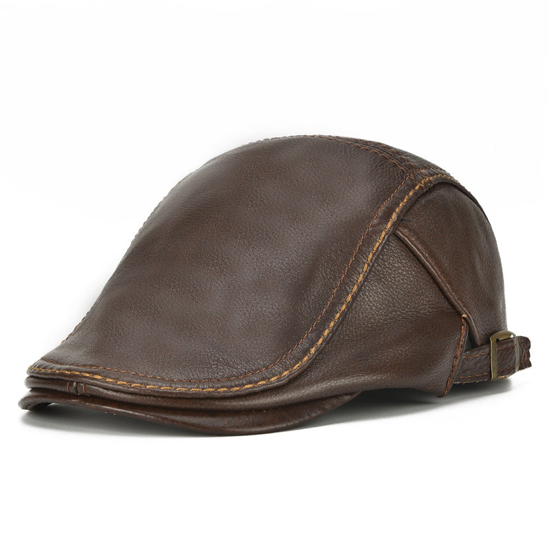 Mens Genuine Cowhide Leather Beret Hat Solid Casual Warm Forward Caps Adjustable