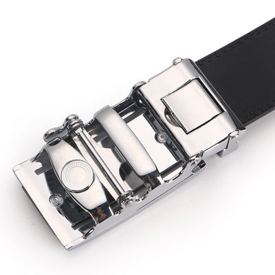 125CM Mens Automatic Buckle Business Two-Layer Leather Belt