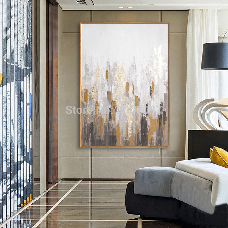 Abstract Gold oil painting Canvas