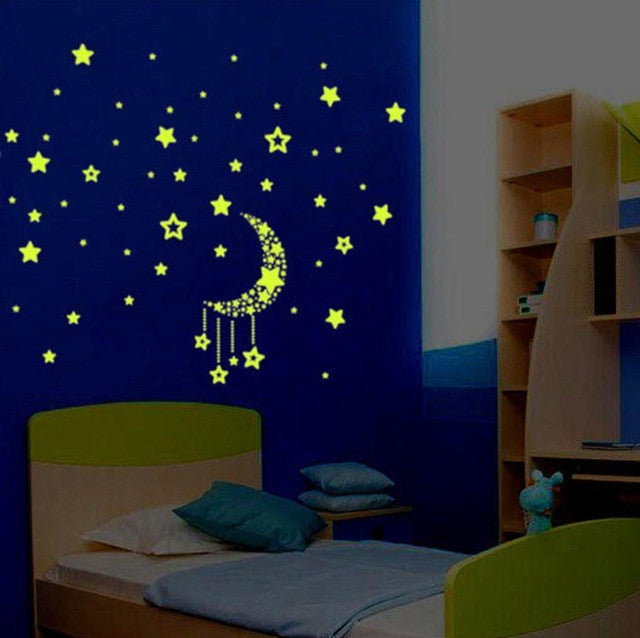Glowing in the dark kids stars 3d wall stickers