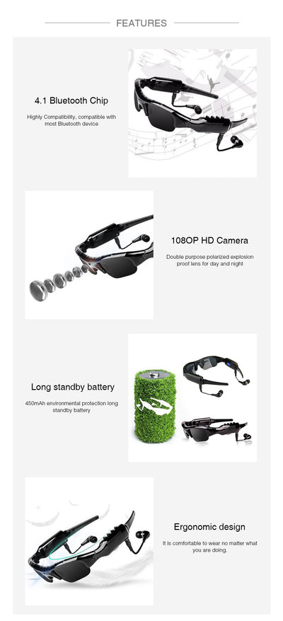 1080P Bluetooth Sunglasses Camera Stereo sound