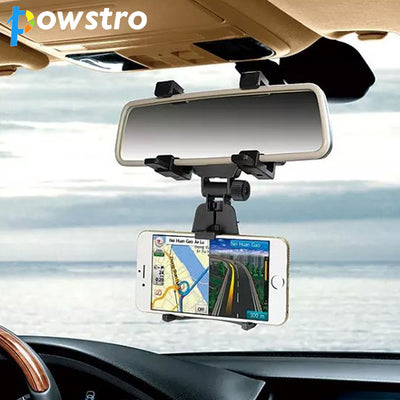 Powtro Universal Phone Holder 360 Degrees Car Rearview
