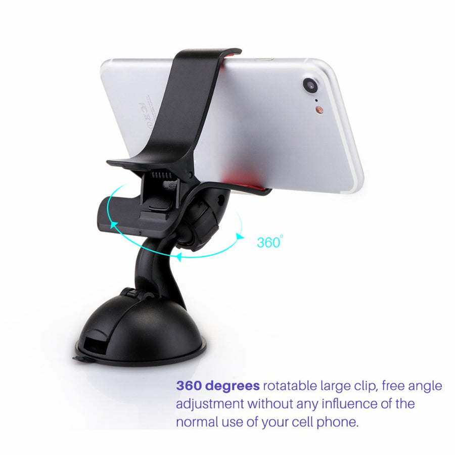 Powstro Car Windshield Phone Holder Windscreen Dashboard Car Stand Mobile Console Bracket Clips On Universal For All Phone