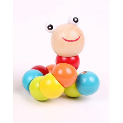Cute Small Wooden Worm Puzzle Toy
