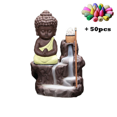 Buddha Burners with 50 pcs mixed Cones Censer Dragon Stick holder